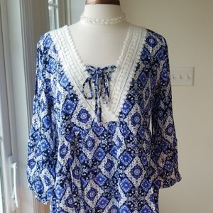 Suzanne Betro Weekend  Navy Arabesque Lace Tunic